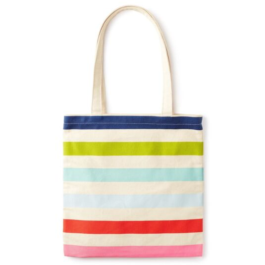 Candy Stripe Canvas Book Tote