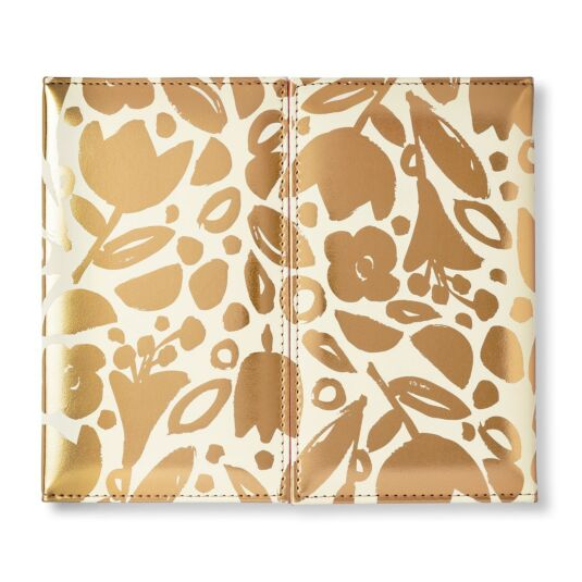 Golden Floral Desktop Weekly Calendar and Folio