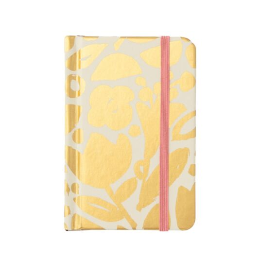 Golden Floral Mini Notebook with Pen