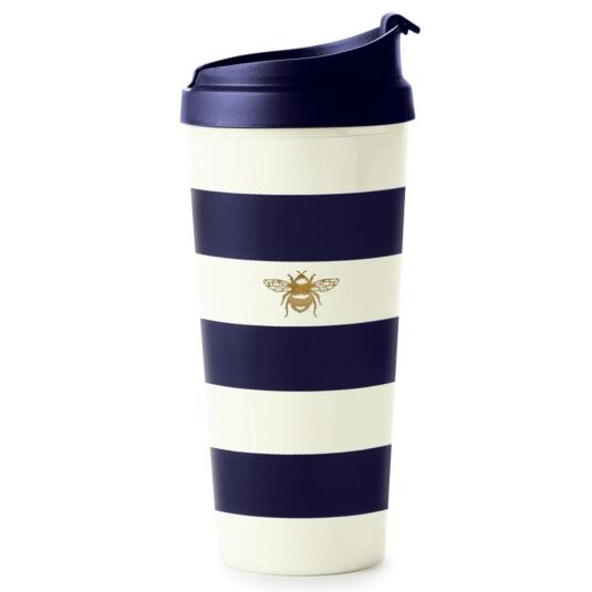 Navy Stripe Thermal Travel Mug