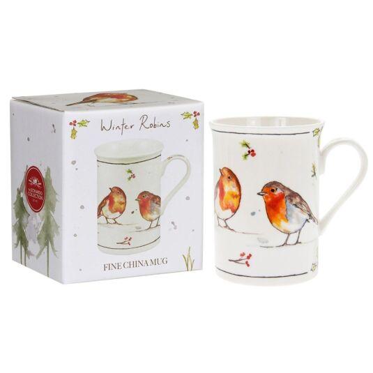Winter Robins Boxed Fine China Mug