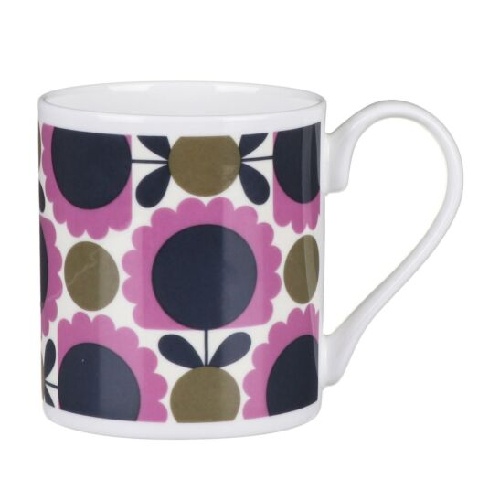 Purple and Olive Scallop Flower Spot Small Mug
