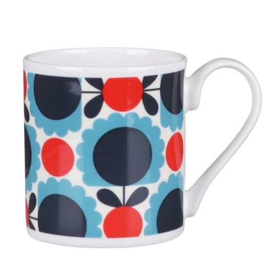 Red and Blue Scallop Flower Spot Small Mug