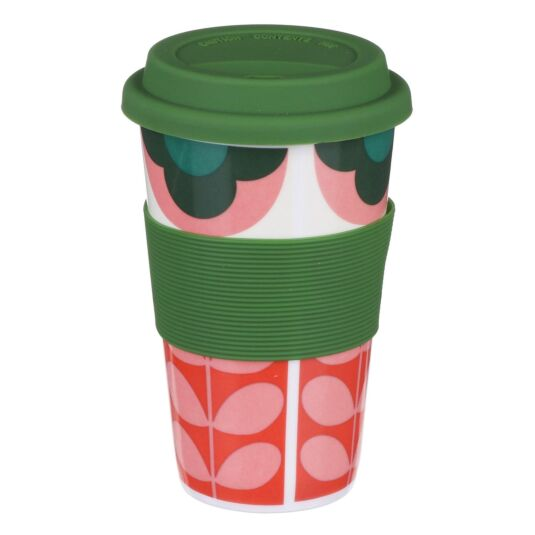 Pink and Green Summer Flower Stem Travel Mug