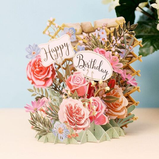 MeAndMcQ Happy Birthday Flowers 3D Card