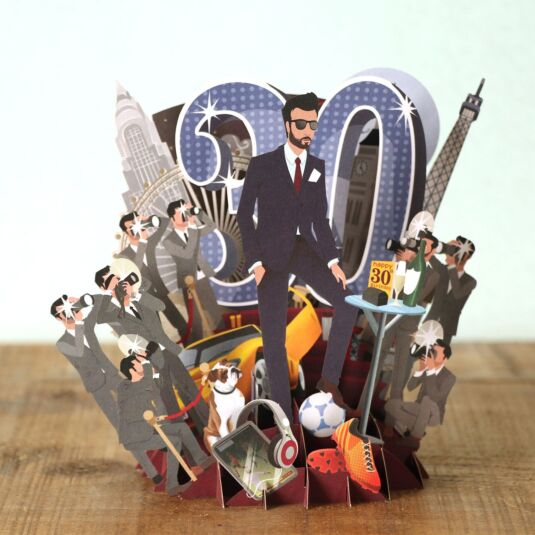 """30 Today"" Male 3D Birthday Card"