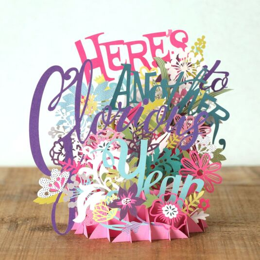"""Here's To Another Glorious Year"" 3D Card"