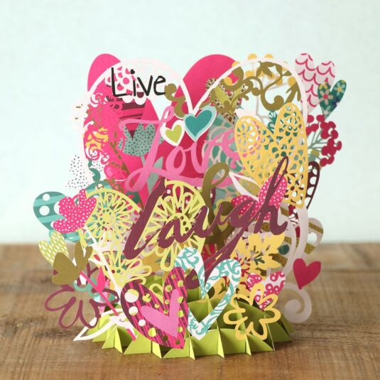 """Live, Love & Laugh"" 3D Card"