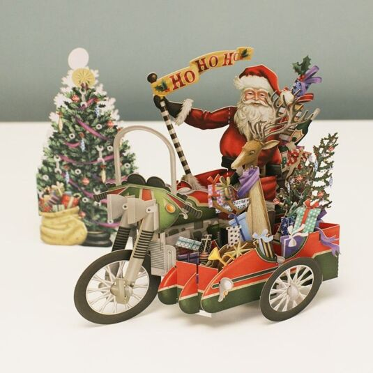 'Santa's Hog' 3D Christmas Card