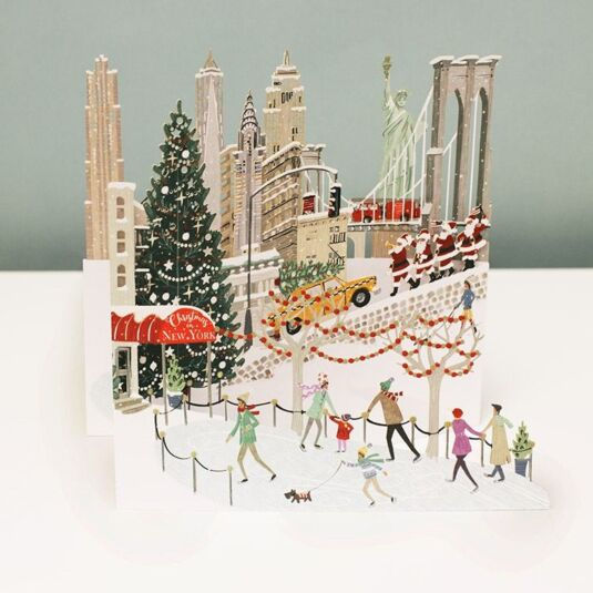 'New York' Zig Zag 3D Christmas Card