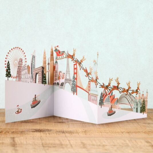 Around the World Zig Zag 3D Christmas Card