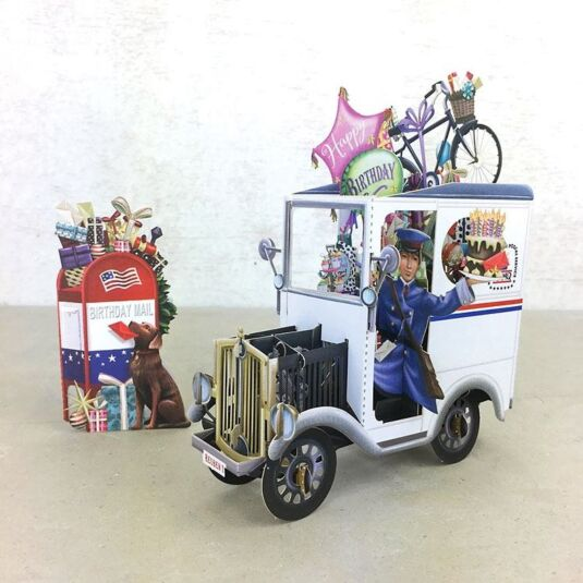 """USA Post Van"" 3D Birthday Card"