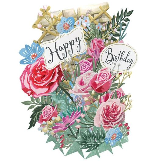 "Me & McQ ""Happy Birthday Flowers"" 3D Card"