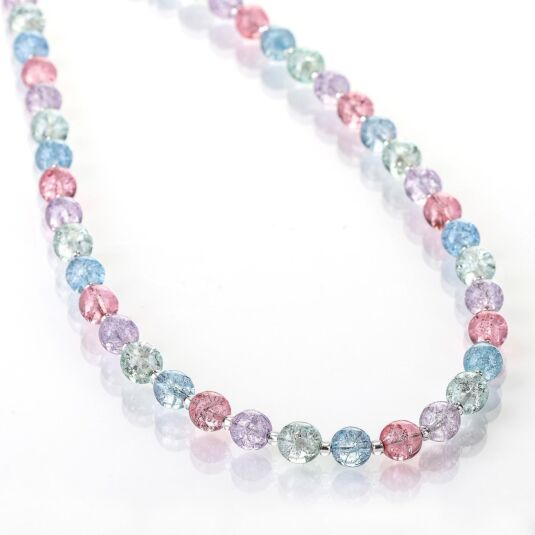 Pastel Crackle Globes Full Necklace