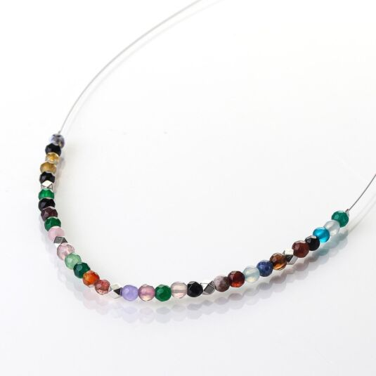 Rainbow Medley Agate Links Necklace