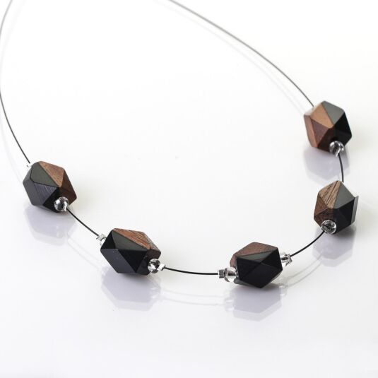 Black/Wood Nuggets Necklace