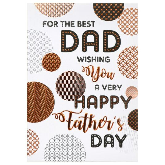 Large 'Geometric Circles - Best Dad' Father's Day Card