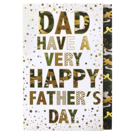 Large 'Camouflage - Dad Have A Very Happy' Father's Day Card