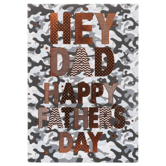 Large 'Camouflage – Hey Dad' Father's Day Card