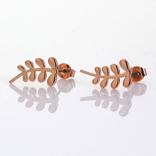 Rose Gold-Plated Leaf Stud Earrings