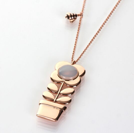 Rose Gold-Plated Long Flower Pot Pendant