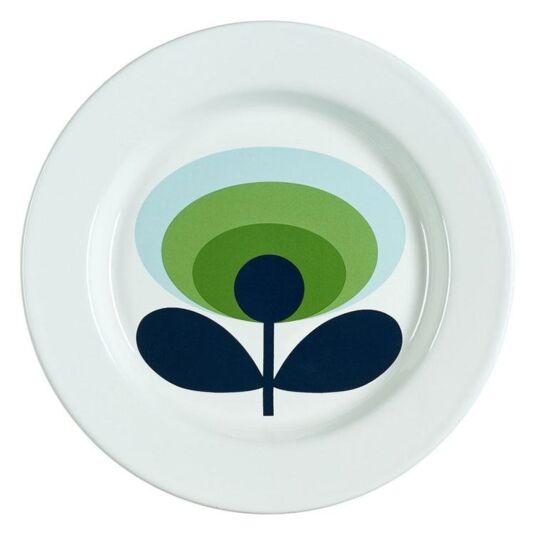 70's Oval Flower Apple Green Enamel Plate