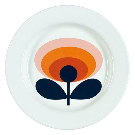 70's Oval Flower Persimmon Orange Enamel Plate