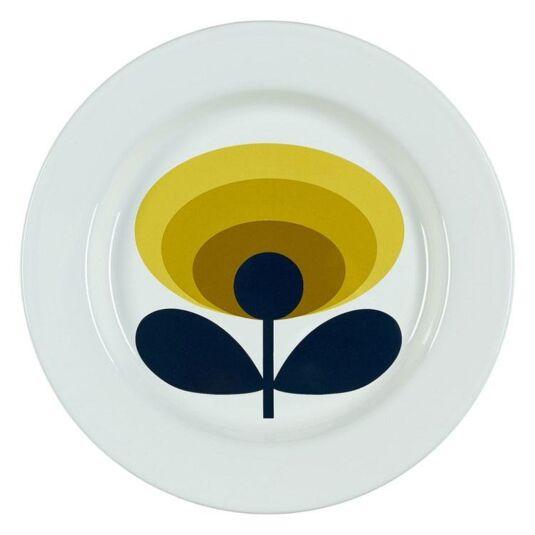 70's Oval Flower Dandelion Yellow Enamel Plate