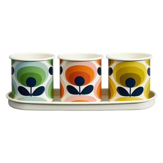 Set of 3 70's Oval Flower Herb Pots
