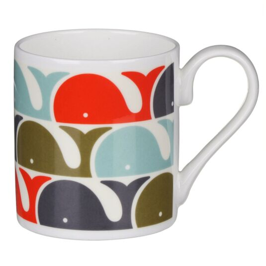 Orange Whale Print Mug