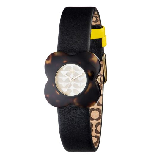 Tortoiseshell Poppy Watch with Leather Strap