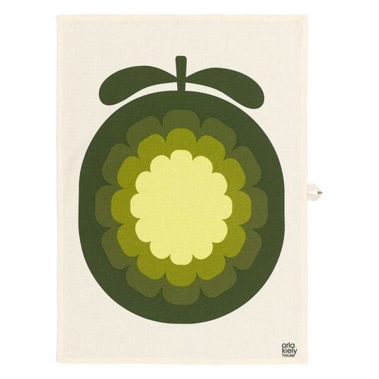Melon Print Yellow Tea Towel Set of 2
