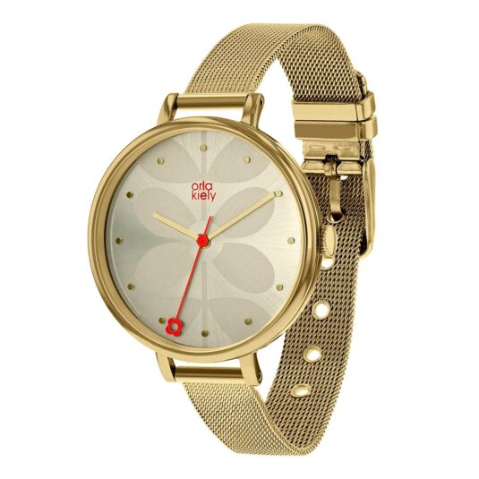 Large Ivy Watch with Gold Mesh Strap