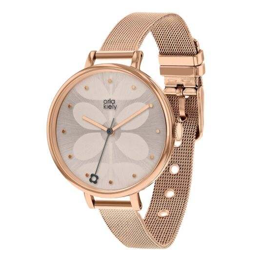 Large Ivy Watch with Rose-Gold Mesh Strap