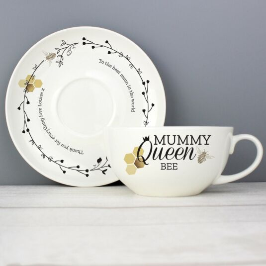 Personalised Queen Bee Teacup & Saucer