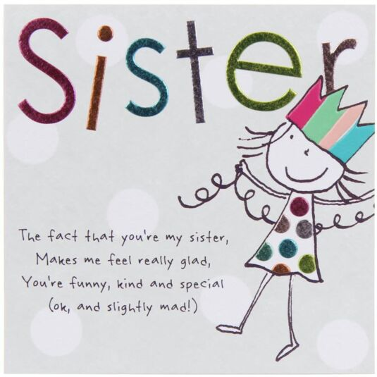 Paperlink Tinklers SISTER Birthday Card – Birthday Greetings to a Sister