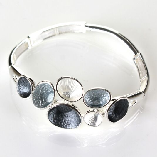 Silver Plated Grey Mix Enamel Bracelet