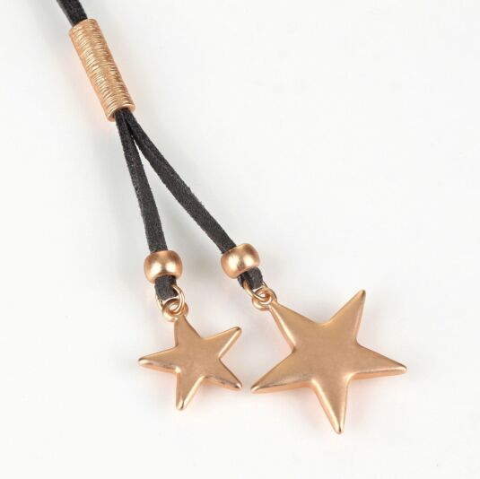 Grey and Rose Gold Double Star Necklace