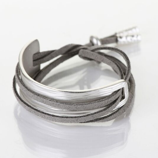 Matt Silver Plated Light Grey Cord Wrap Bracelet