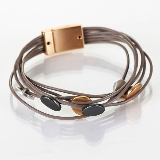 Mixed Metals Taupe Leather Six Disc Wrap Bracelet