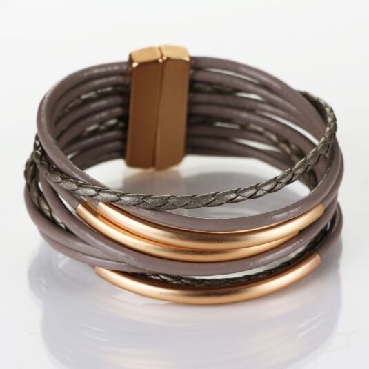 Matt Gold Plated Taupe Leather Tube Wrap Bracelet