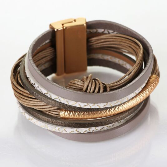 Matt Gold Plated Taupe Leather Knot Wrap Bracelet