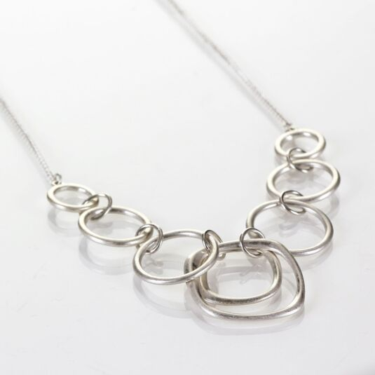 Silver Plated Linked Mixed Hoops Necklace
