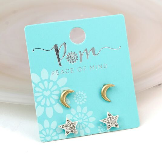 Gold Moons And Silver Star Stud Earring Set