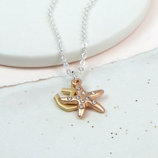 Gold Plated Anchor And Starfish Necklace