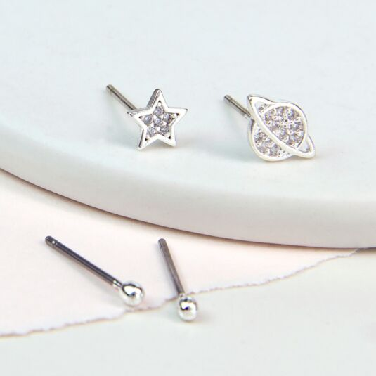 Silver Plated Star And Saturn Earring Set