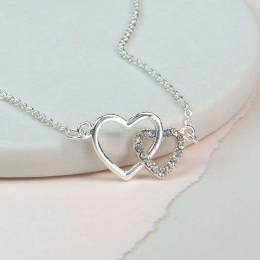 Double Heart Linked Crystal Necklace