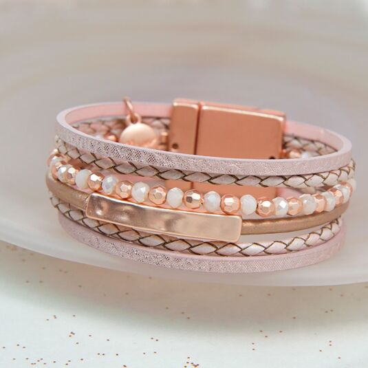 Pink Leather Mixed Beads Bracelet