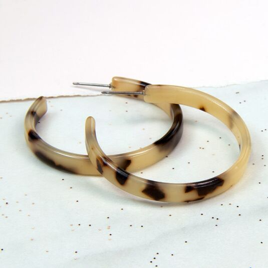 Taupe Acrylic Hoop Earrings