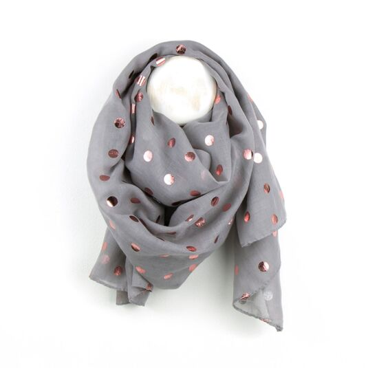 Grey Scarf With Metallic Pink Spots